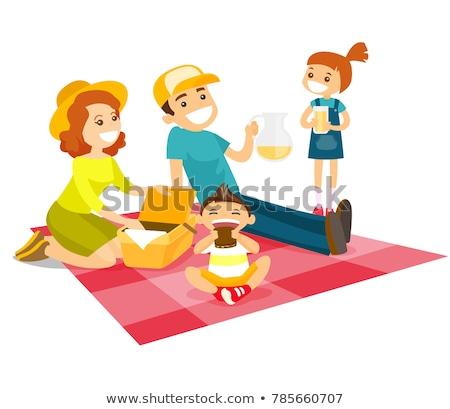 счастливая · семья · пикника · парка · человека · дети · пить - Сток-фото © rastudio