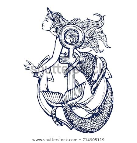 Sirène femme ancre belle corde Photo stock © jeff_hobrath