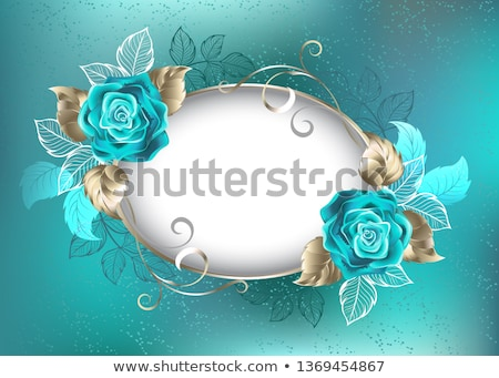 Oval banner with turquoise roses Stock photo © blackmoon979