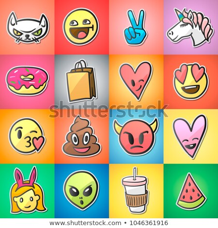 cute · leguaan · cartoon · vector · sticker · icon - stockfoto © ikopylov