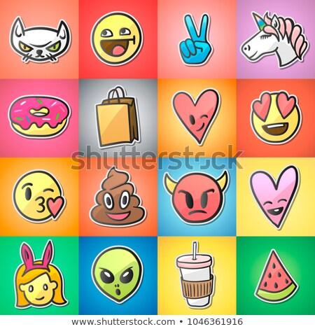 Establecer colorido pegatinas vector sonrisa Foto stock © ikopylov
