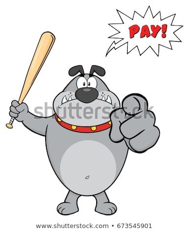 Stok fotoğraf: Angry Gray Bulldog Cartoon Mascot Character Holding A Bat And Pointing