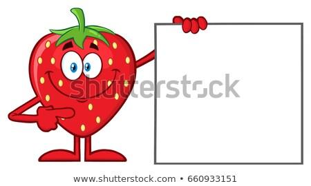 Sonriendo fresa frutas mascota de la historieta carácter senalando Foto stock © hittoon