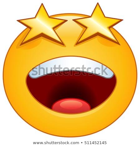 smiling yellow star cartoon emoji face character with sunglasses stock photo © hittoon