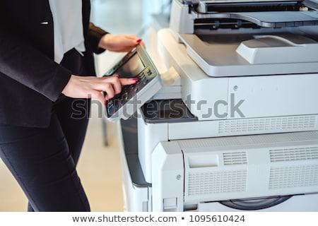 kéz · nyomtató · gomb · közelkép · kulcs · ikon - stock fotó © georgemuresan