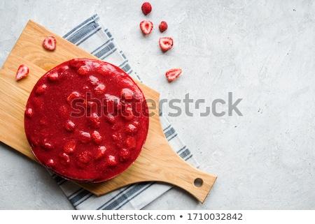 Flat lay with strawberry cheesecake Stock photo © Melnyk