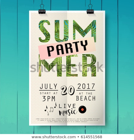 vector summer beach party flyer design with typographic elements on wood texture background summer stock photo © articular