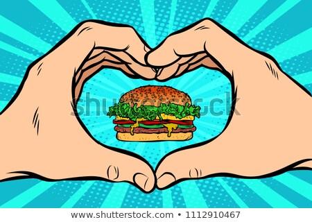 Burger · ikon · şablon · yalıtılmış · beyaz · lezzetli - stok fotoğraf © rogistok