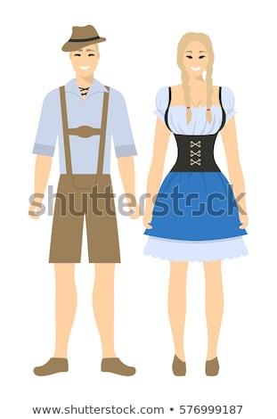 Homem mulher casal potável cerveja festival Foto stock © orensila