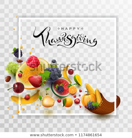 Happy Thanksgiving Day handwritten calligraphy text greeting card. Cornucopia harvest frame Stock photo © orensila