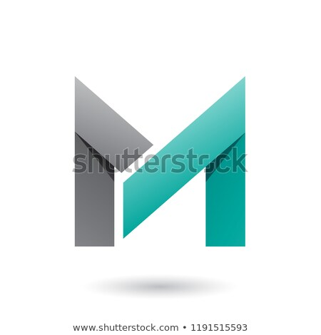 Grey and Persian Green Folded Paper Letter M Vector Illustration Stock photo © cidepix