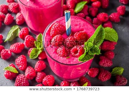 Vidro iogurte framboesa fresco vermelho Foto stock © dash