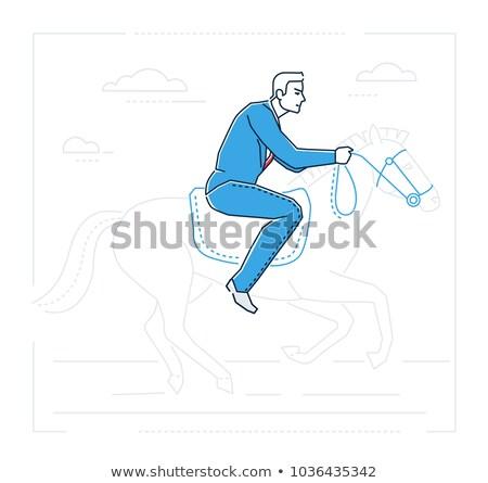 Businessman on horseback - line design style illustration Stock photo © Decorwithme
