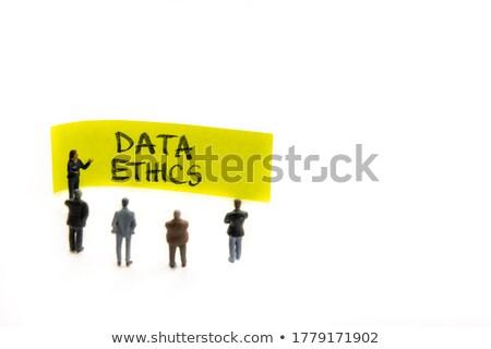 áll üzletember adat körül ikon centrum Stock fotó © ra2studio