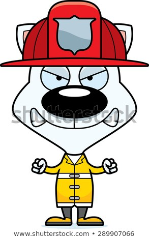 Desenho animado zangado bombeiro gatinho olhando Foto stock © cthoman