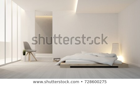 Guest modern bedroom interior with grey walls and windows Stock photo © iriana88w