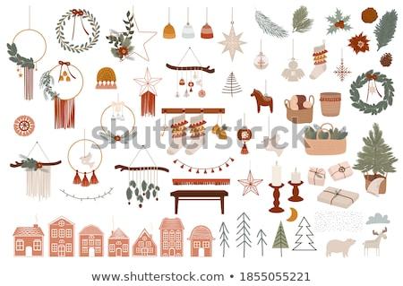 Joyeux Noël vacances carte hiver chaussette Photo stock © cienpies