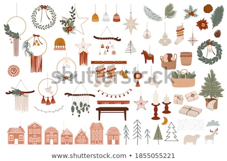 Merry Christmas holiday card winter boho sock Stock photo © cienpies