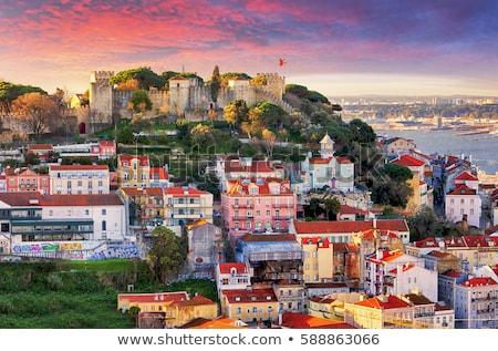 Lisbonne château coucher du soleil Portugal célèbre haut Photo stock © joyr