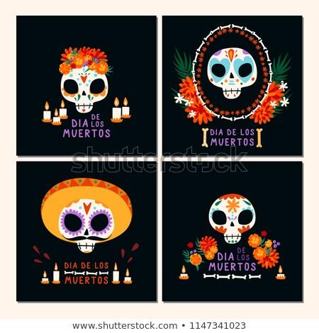 Dzień martwych mexican wakacje karty kolekcja Zdjęcia stock © cienpies