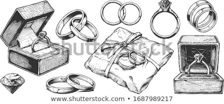 Gravur Ehering Symbol realistisch isoliert weiß Stock foto © robuart