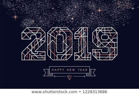 Happy New Year 2019 copper art deco greeting card stock photo © cienpies