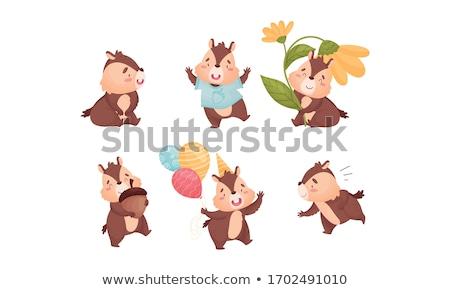 Karikatür çizgili sincap oturma örnek gülen bebek Stok fotoğraf © cthoman