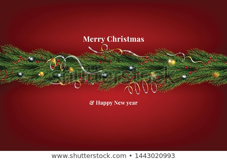 background with realistic looking christmas tree branches and red holly berries vector illustration stock photo © ikopylov