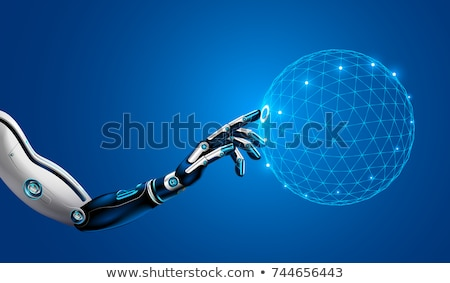 human and robot hand with virtual earth hologram stock photo © dolgachov