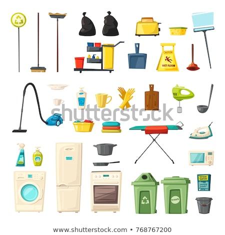 Takarítás vektor háztartás készlet ikonok felszerlés Stock fotó © pikepicture