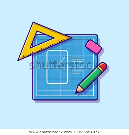 stationery icons vector pen pencil notebook ruler isolated flat cartoon illustration stock photo © pikepicture