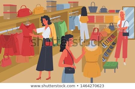Winkelen vrouw kiezen handtas store vector Stockfoto © robuart