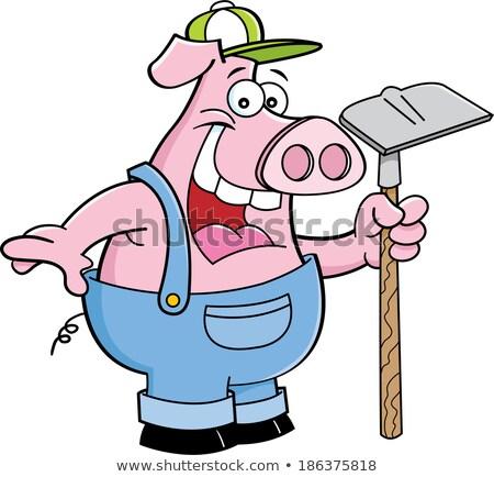豚 · 鍬 · 漫画 · 実例 · 面白い - ストックフォト © bennerdesign