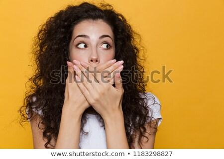 Kép ijedt megrémült nő 20-as évek göndör haj Stock fotó © deandrobot