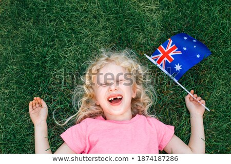 menina · australiano · orgulho · Austrália · dia - foto stock © lovleah