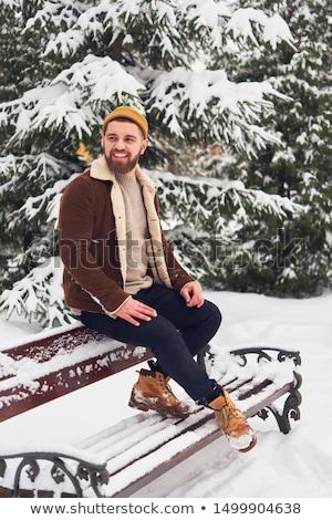 Retrato alegre hombre suéter bufanda pie Foto stock © deandrobot