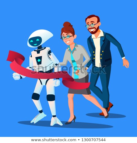 Competition, Robot First Came To The Finish Line, Faster Than People Vector. Isolated Illustration Stock photo © pikepicture