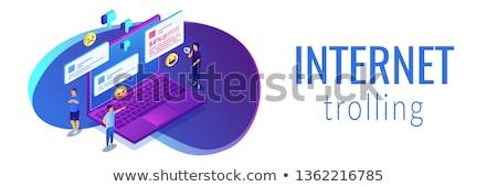 интернет Троллинг изометрический 3d иллюстрации крошечный люди Сток-фото © RAStudio