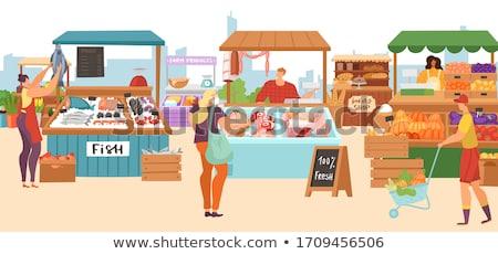 Farmer in Kiosk Selling Meat Vector Illustration Stock photo © robuart