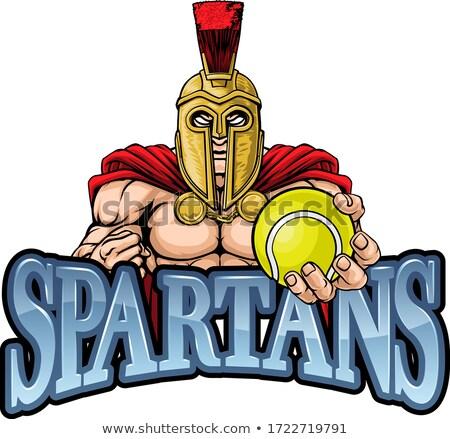 Spartalı truva tenis spor maskot savaşçı Stok fotoğraf © Krisdog