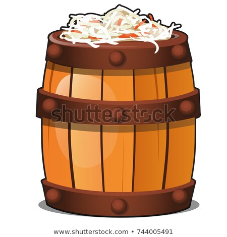 Wooden barrel filled with fermented vegetarian sauerkraut isolated on white background. Traditional  Stock photo © Lady-Luck