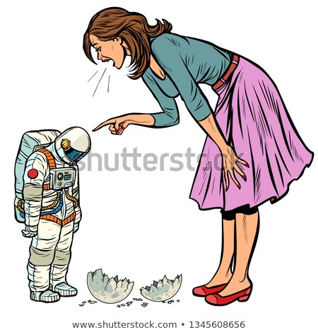Woman scolds astronaut. The guilty destroyed moon isolate on white background Stock photo © studiostoks