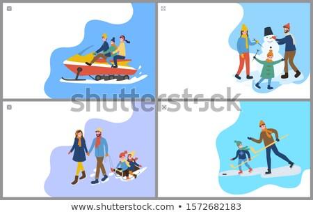 Hockey formación escultura muñeco de nieve familia establecer Foto stock © robuart