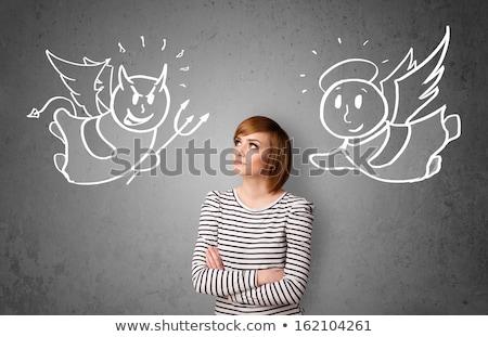 Nina ángel diablo ilustración mujer rojo Foto stock © adrenalina