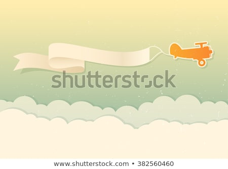 Airplane Pulling Banner Cartoon Stock photo © Krisdog