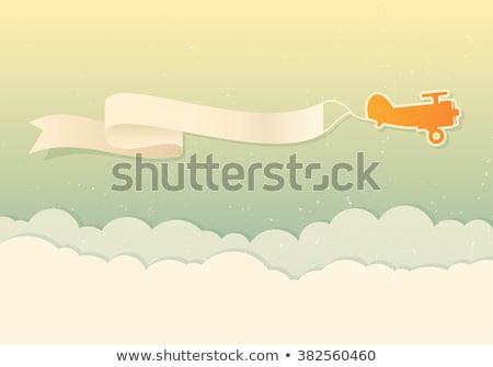 repülőgép · repülőgép · húz · szalag · rajz · illusztráció - stock fotó © krisdog