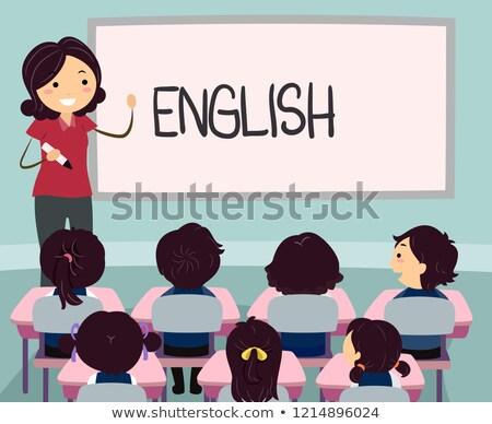 Gyerekek ázsiai angol tanár illusztráció lány Stock fotó © lenm