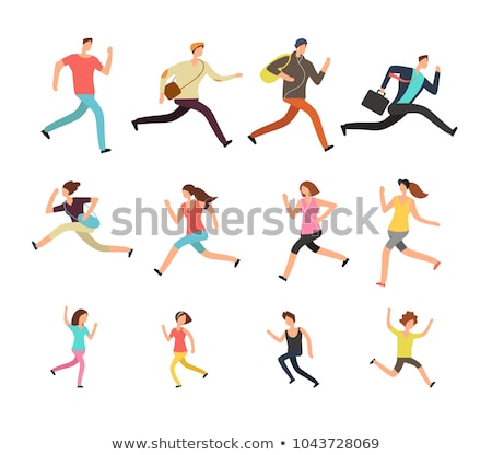 vector set of people running stock fotó © olllikeballoon