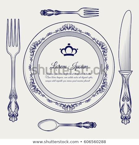 Stock photo: vector Royal dishes, tableware set