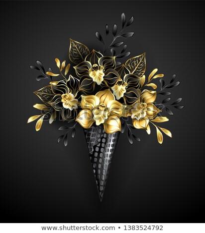 Cialda nero orchidee cono gioielli oro Foto d'archivio © blackmoon979